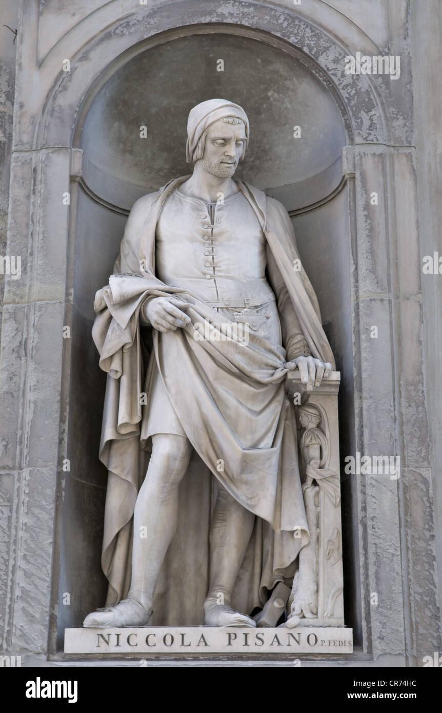 Pisano, Nicola, 1205 - 1278, Italian artist (sculptor), architect, full length, statue, Galleria degli Uffici, Florence, Stock Photo