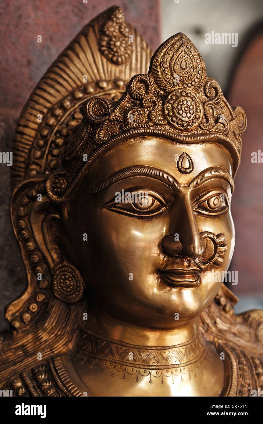 Head of a Shiva statue, Indian deity standing in front of an Indian restaurant, Nuremberg, Middle Franconia, Bavaria - Stock Image