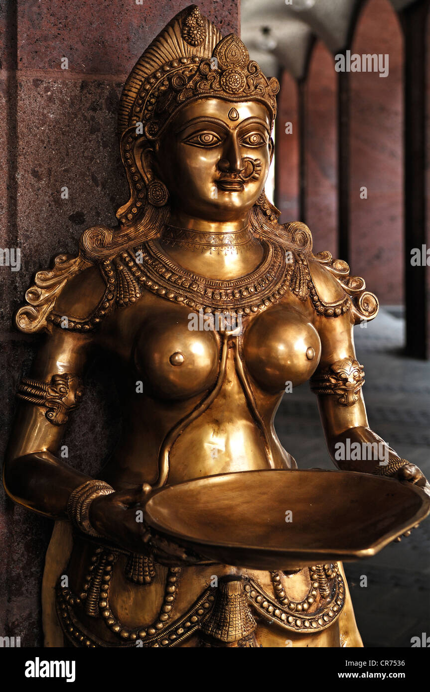 Shiva statue, Indian deity standing in front of an Indian restaurant, Nuremberg, Middle Franconia, Bavaria, Germany, - Stock Image