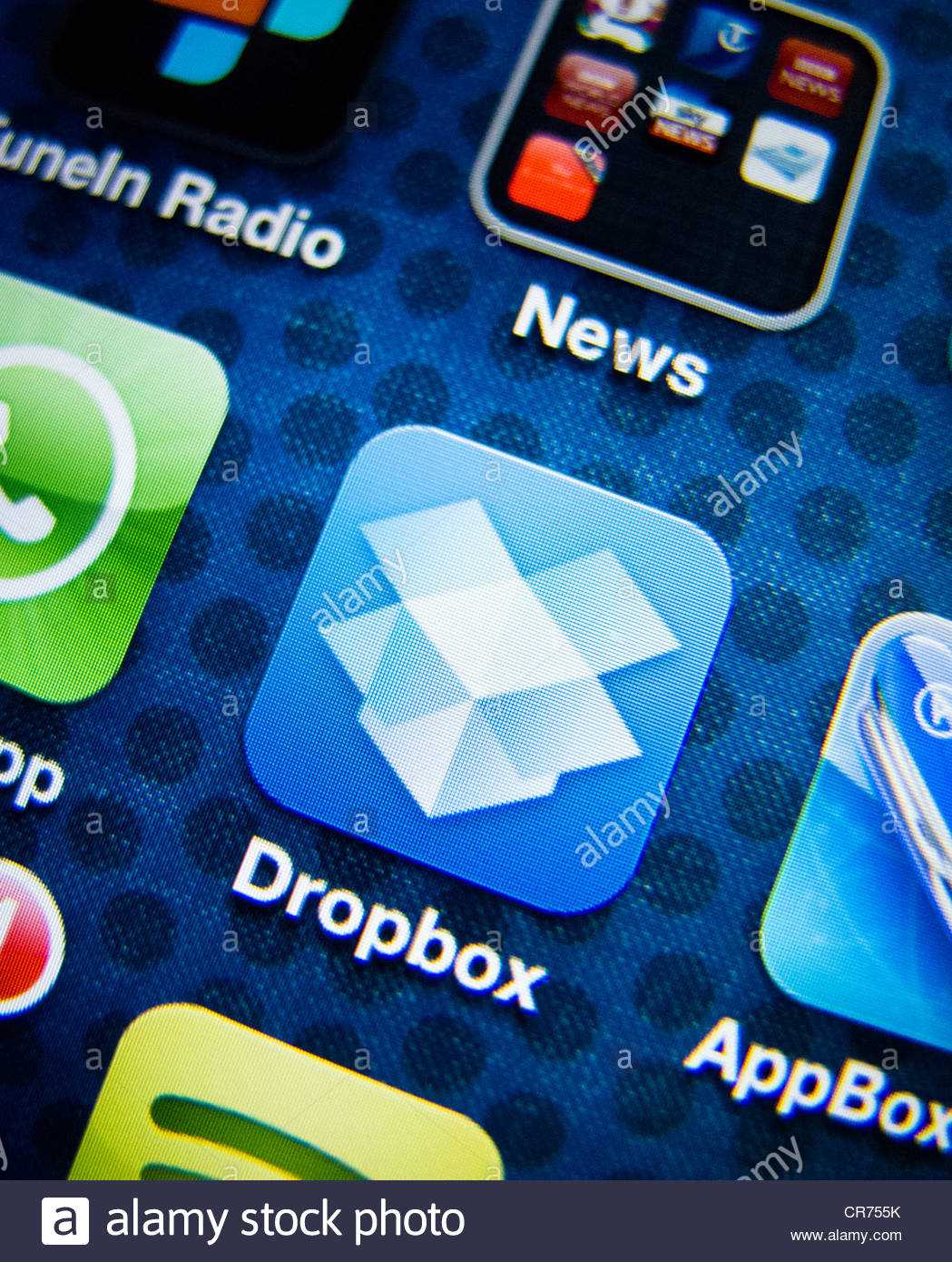 detail of iPhone 4G screen showing Dropbox cloud storage app - Stock Image