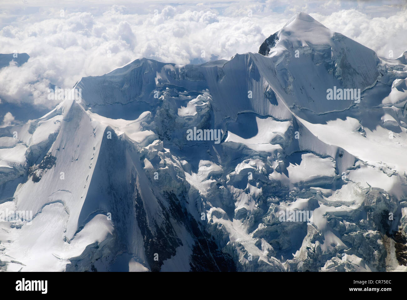 Aerial view of Huayna Potosi (6088 meters above sea level), Real Cordillera, Bolivia - Stock Image
