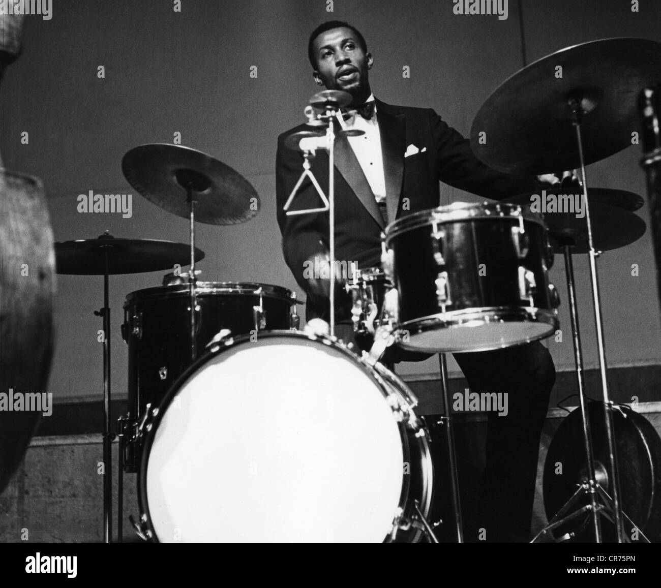 Modern Jazz Quartett, the, American jazz band, member: Connie Kay, playing drums, 1955, Additional-Rights-Clearances - Stock Image