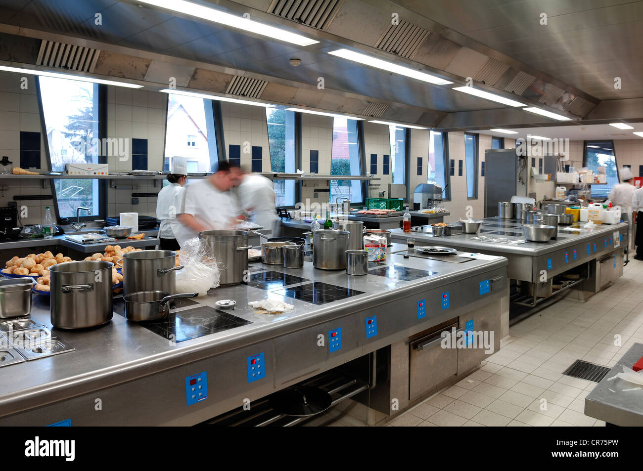 Kitchen Of A School Hotel Management Lycee Economique Et Hotelier Joseph Storck Trainees Motion Blur
