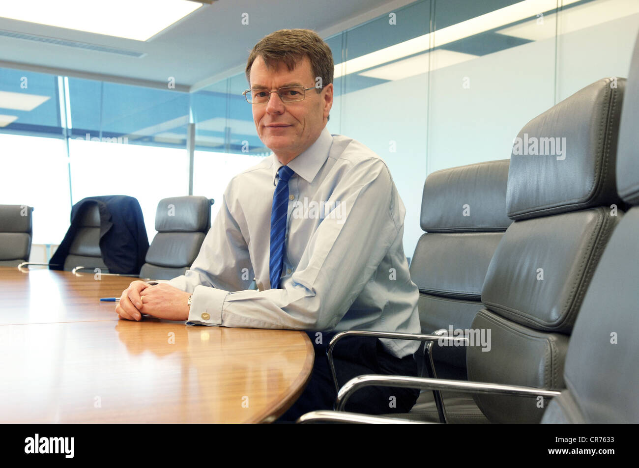 Picture shows British Airprts Authority CEO Colin Matthews sitting at desk - Stock Image