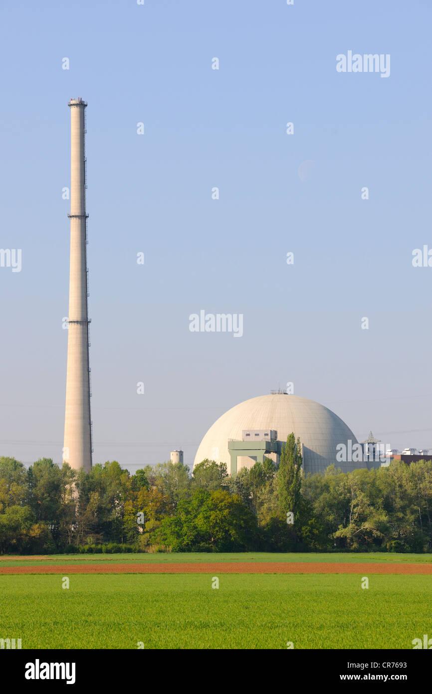 Grafenrheinfeld Nuclear Power Station, Grafenrheinfeld, Lower Franconia, Franconia, Bavaria, Germany, Europe - Stock Image