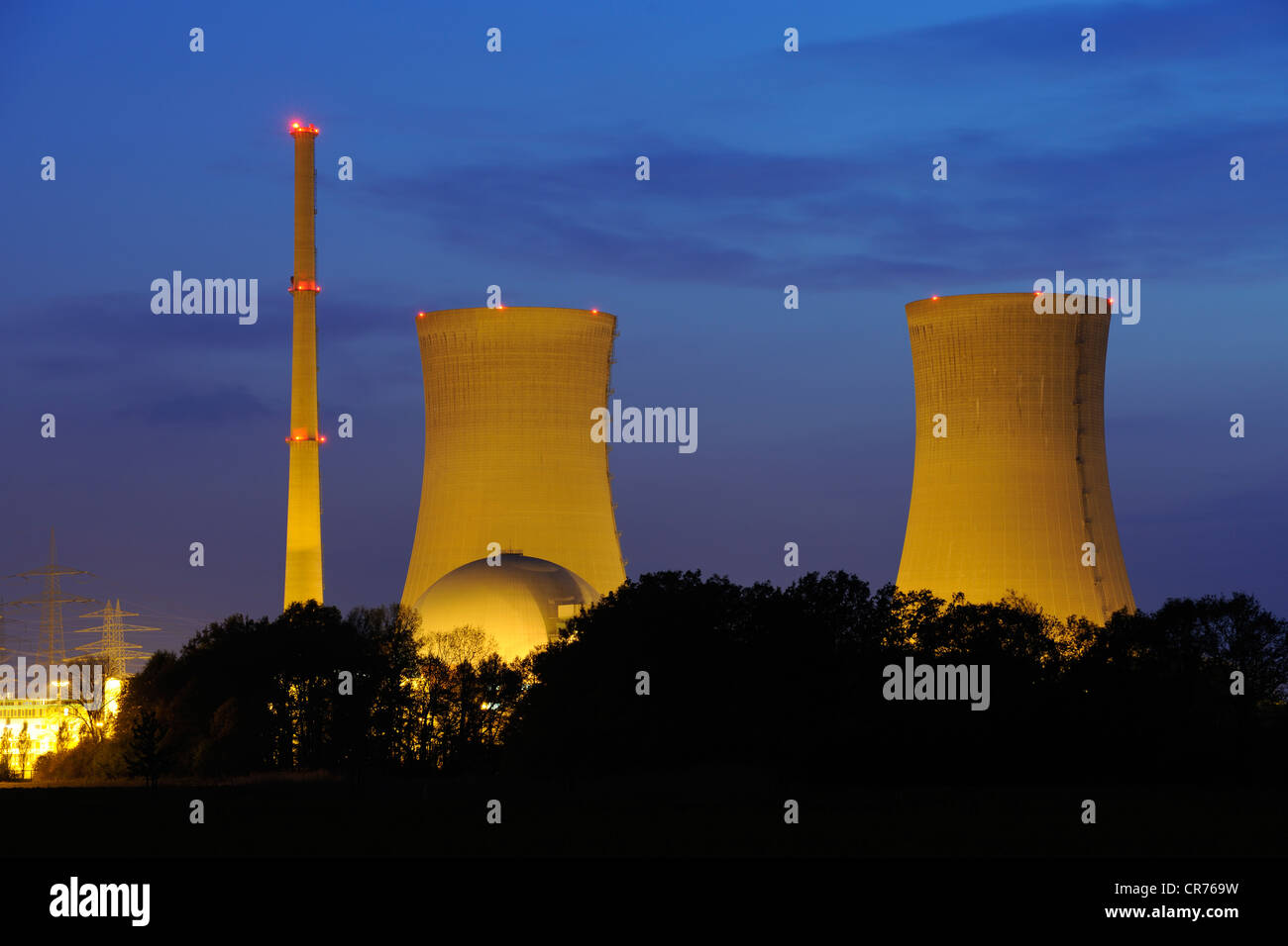 Grafenrheinfeld Nuclear Power Station, out of service, Grafenrheinfeld, Lower Franconia, Franconia, Bavaria, Germany, - Stock Image