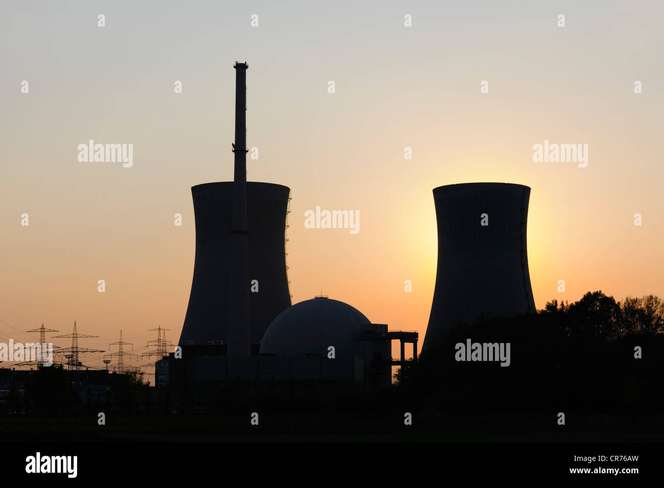 Grafenrheinfeld Nuclear Power Station, out of service, at sunset, Grafenrheinfeld, Lower Franconia, Franconia, Bavaria - Stock Image