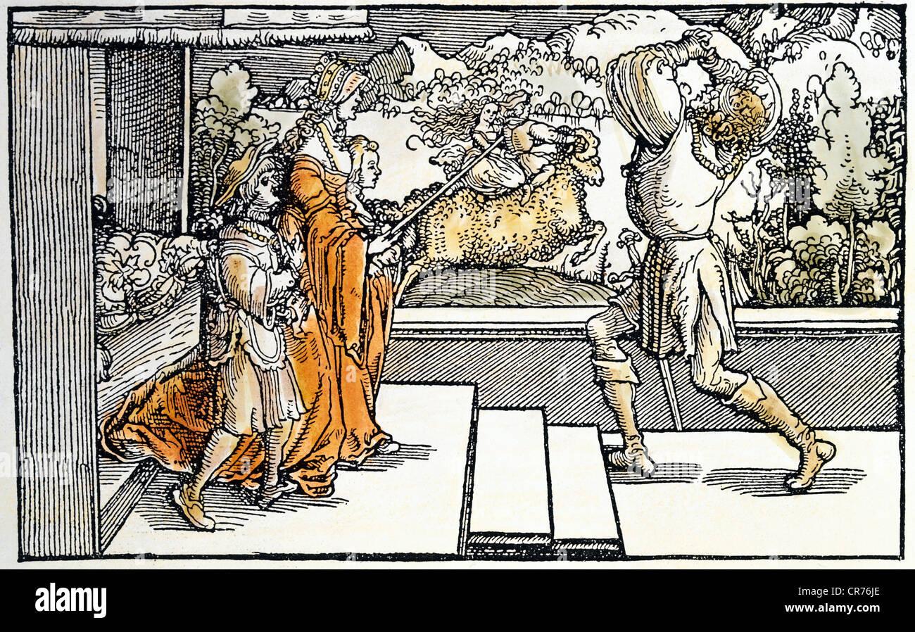 Hippolytus, legendary character, Greek mythology, full length, with Phaedra, Phrixos, Helle, 'About stepmothers', - Stock Image