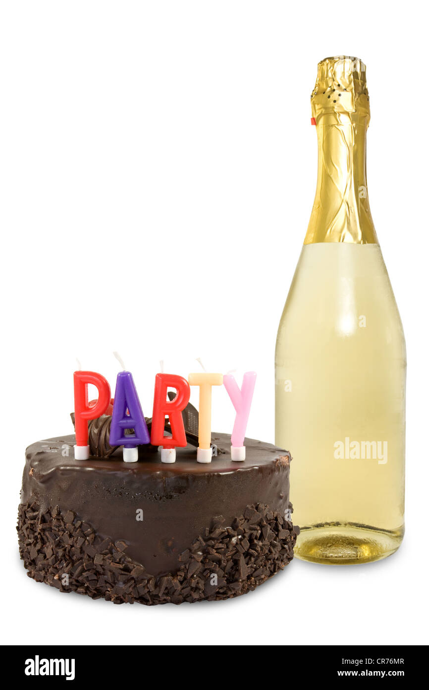Magnificent Birthday Cake And Champagne Bottle Over A White Background Stock Funny Birthday Cards Online Hetedamsfinfo