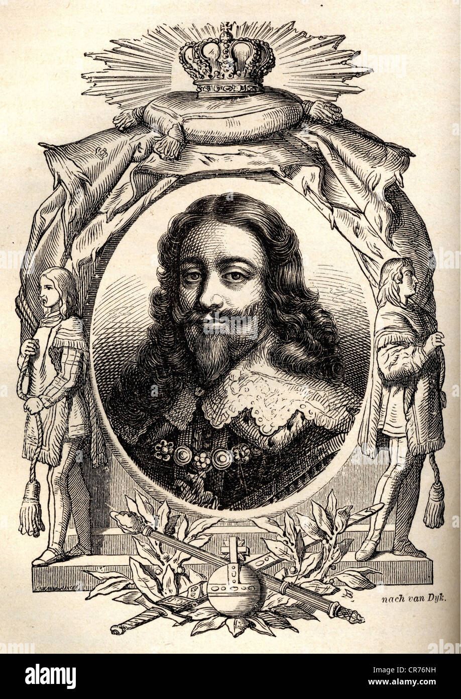 Charles I., King of England, 1625 - 1649, born 1600, executed 1649, portrait, steel engraving  from 'The history - Stock Image