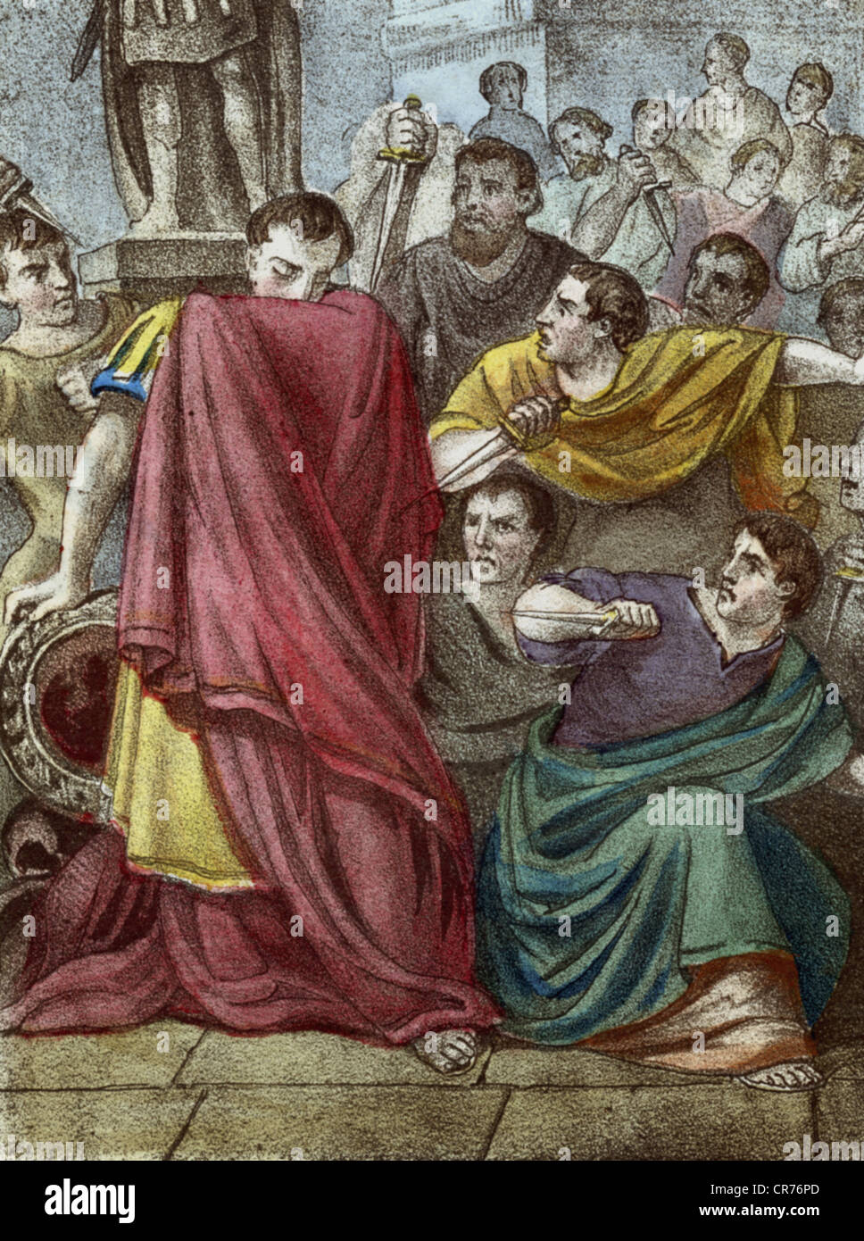 The death of Caius Julius Caesar, Roman emperor, strategist and writer, killed at the 15. 3. 44 before Christ, coloured - Stock Image