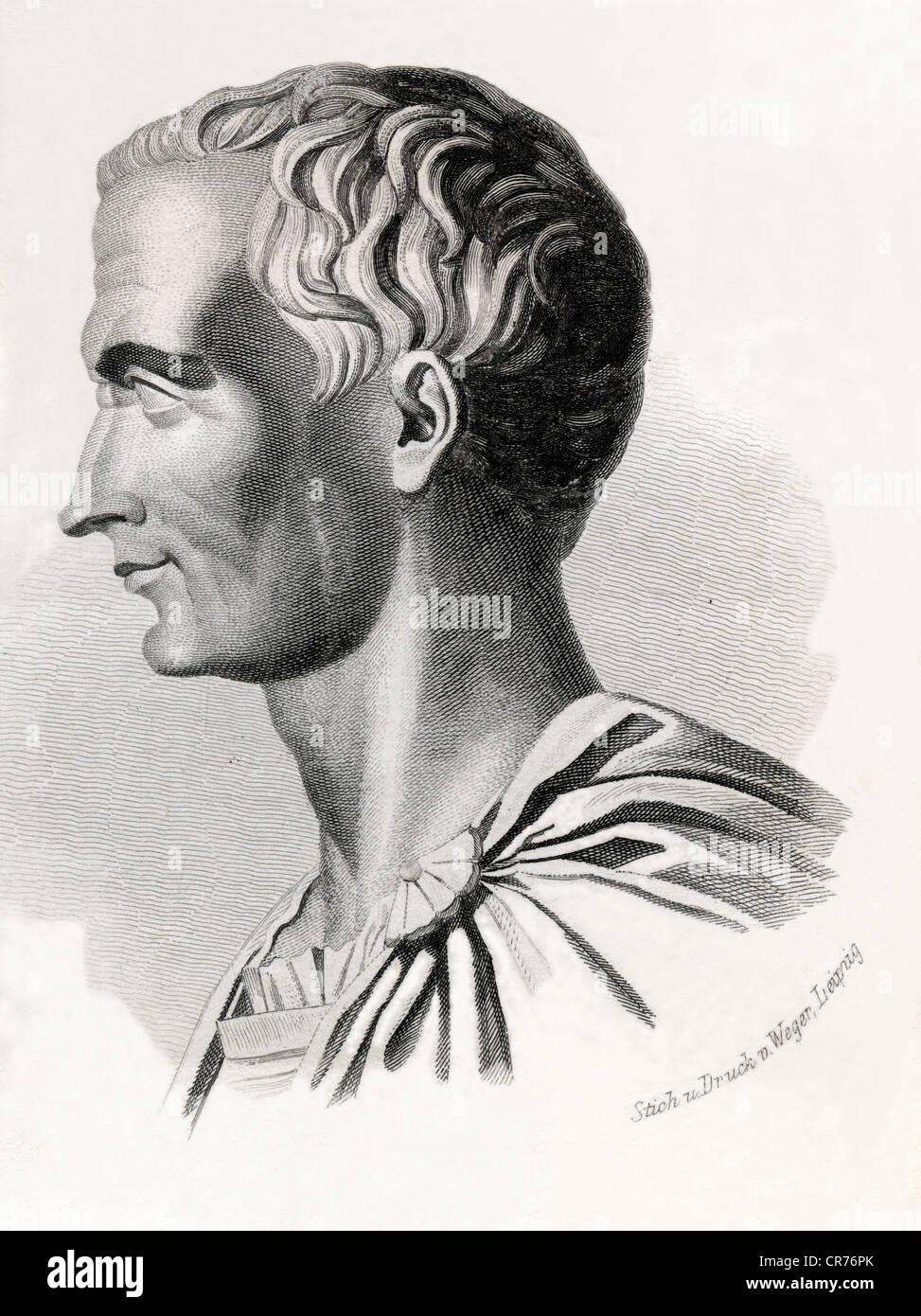 Gaius Julius Caesar, born 13. 07. 100 BC, assassinated  15. 03. 44 pre-Christian in Rome, roman statesman, strategist - Stock Image