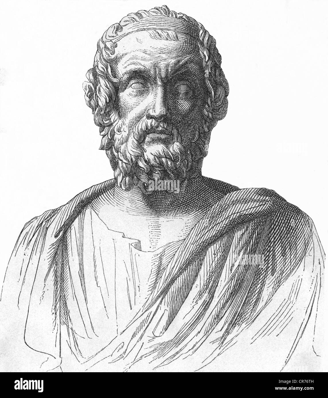Homer, greek poet, about 800 B.C., portrait, wood engraving from: 'General history of the world for all people - Stock Image