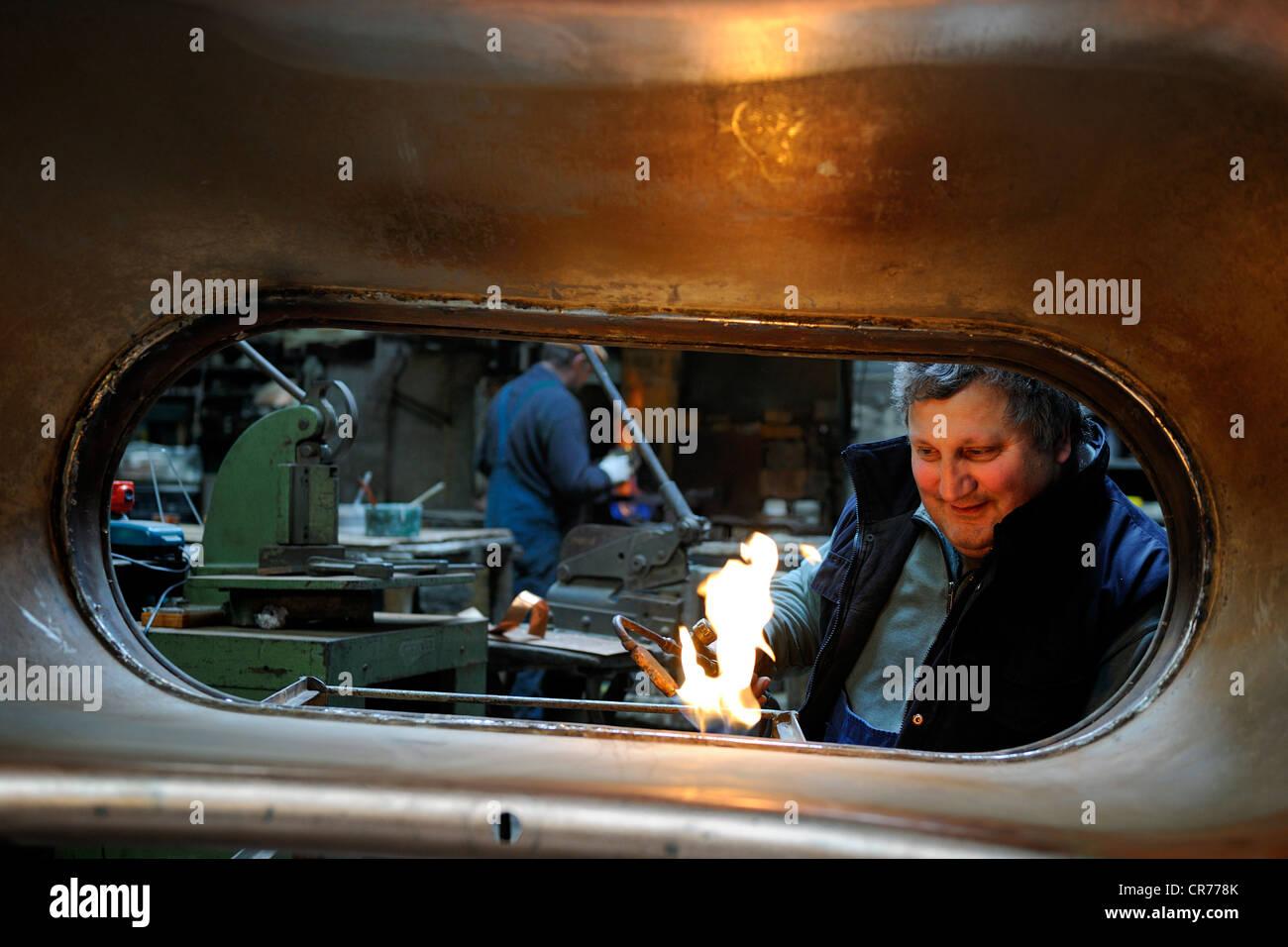 France, Manche, Villedieu les Poeles, Copper workshop, Jean Pierre Couget - Stock Image