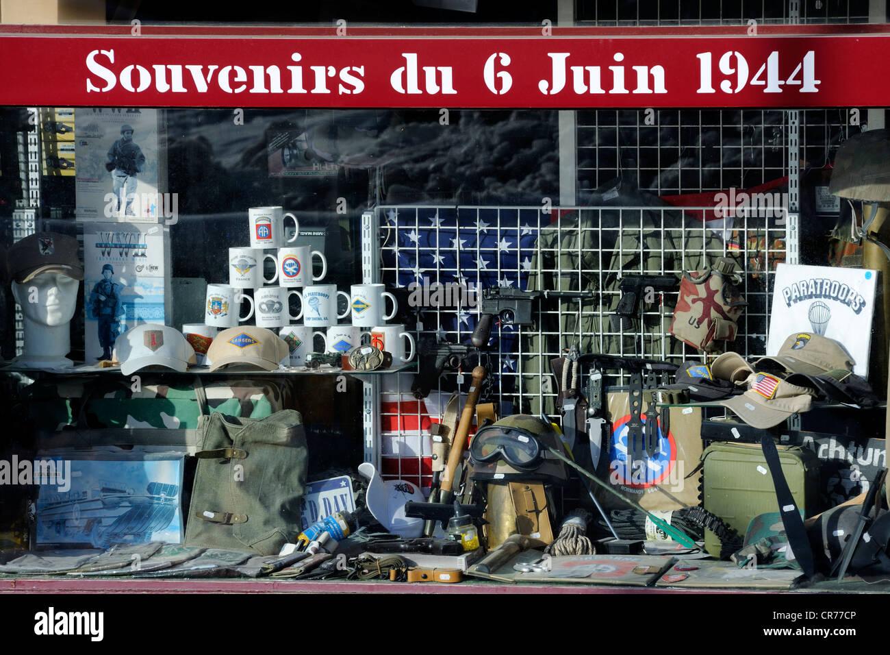 France, Manche, Sainte Mere Eglise, souvenir shop for the landing of D day Stock Photo