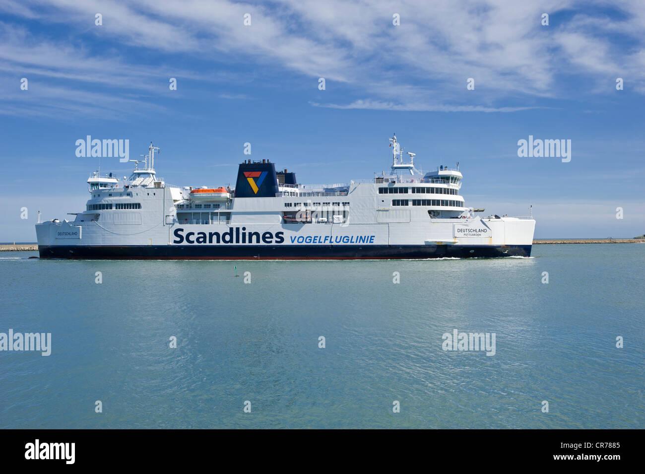 Scandlines ferry, Deutschland, at the ferry terminal, Puttgarden, Fehmarn Island, Baltic Sea, Schleswig-Holstein - Stock Image