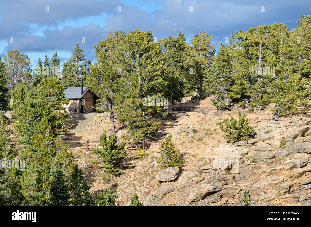 Toilet hut at Juniper Pass, State Road 103, Mount Evans Wilderness Arapaho National Forest, Idaho Springs, Colorado, - Stock Image