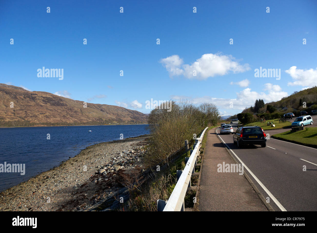 traffic on the main a82 tourist route road along the shores of loch linnhe near fort william highland highlands Stock Photo