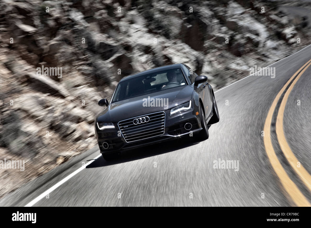 Audi A7 driving on a highway in Nevada USA - Stock Image