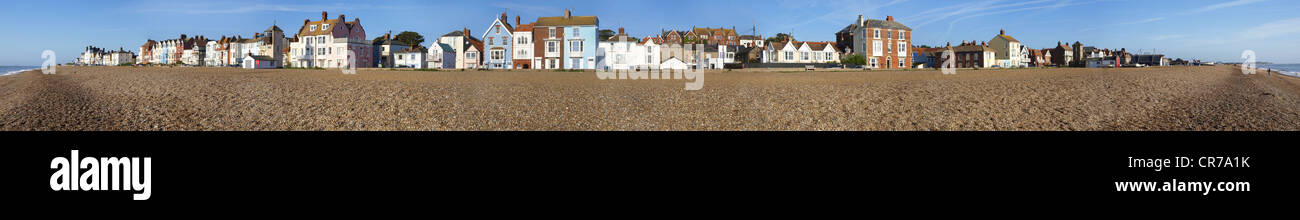 Wide panorama of Aldeburgh seafront on the Suffolk coast Stock Photo