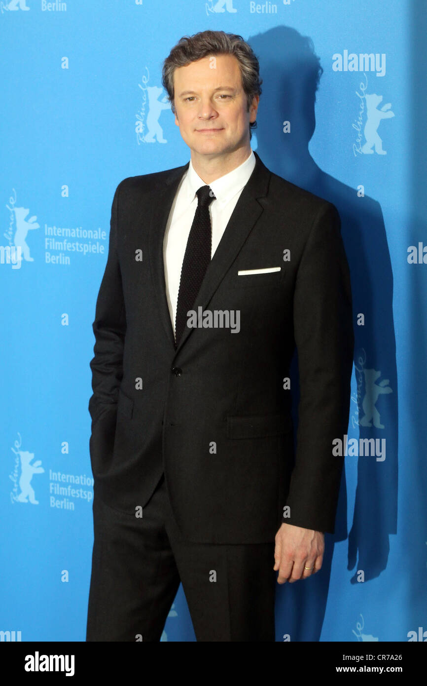 Firth, Colin, * 10.9.1960, British actor, half length, during photo call to 'The King's Speech', Berlin - Stock Image