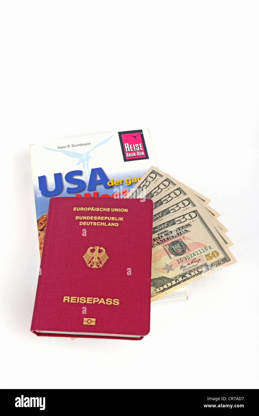 Travel guide to the USA, America, passport of the Federal Republic of Germany, several 50-dollar bills, symbolic Stock Photo