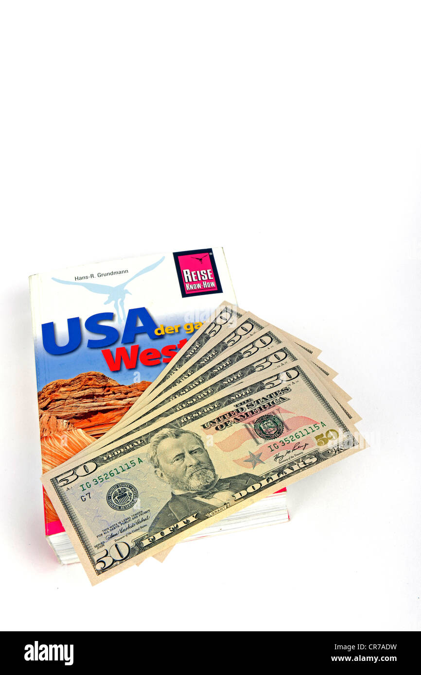 Several 50-dollar bills, travel guide of the USA, America - Stock Image