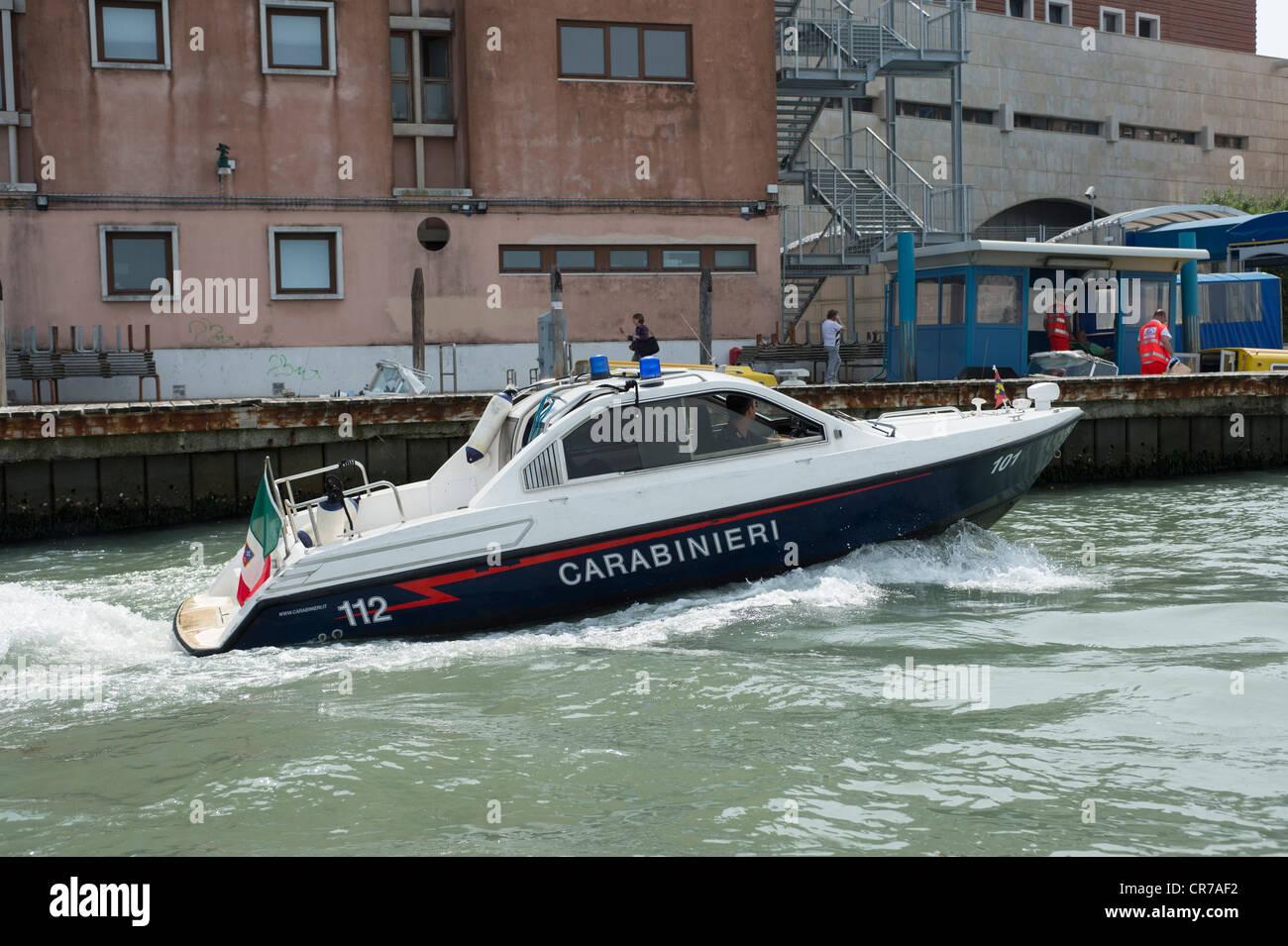 Venetian Carabinieri Police boat, Venice, Italy. Stock Photo