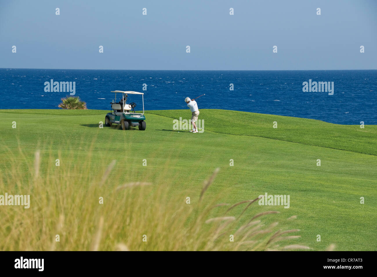Egypt, Man playing golf on golf course - Stock Image