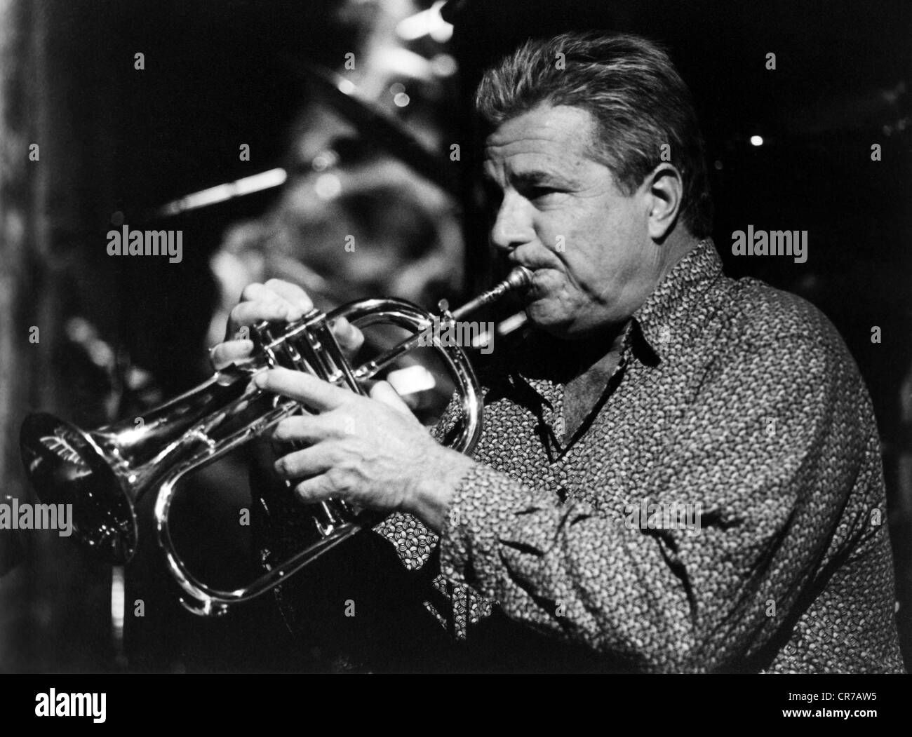 Elliott, Jeff, musician (jazz trumpeter), half length, during concert gig, Montreux, 1998, Additional-Rights-Clearances - Stock Image