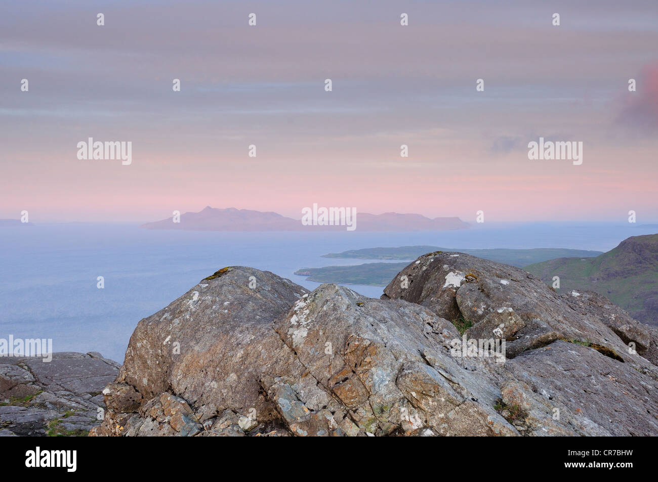 View towards the Island of Rum from the summit of Sgurr Na Stri on the Isle of Skye, Scotland Stock Photo