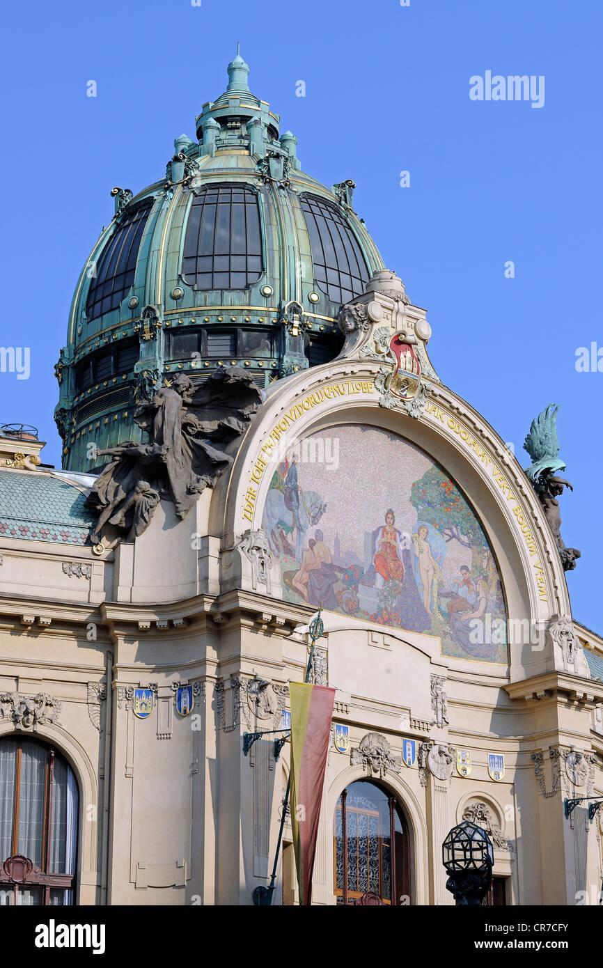 Municipal House, Obecni Dum building, Prague, Bohemia, Czech Republic, Europe Stock Photo