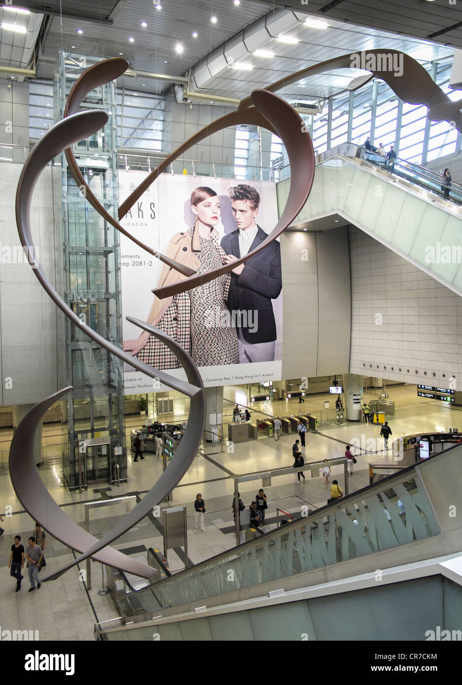 Interior of large new railway station at west Kowloon in Hong Kong - Stock Image
