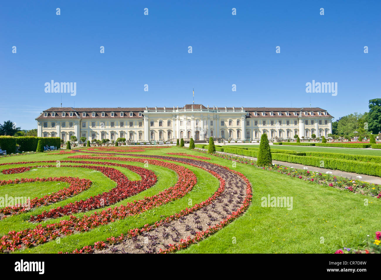 Schloss Ludwigsburg Palace, Blossoming Baroque gardens, Neckar, Baden-Wuerttemberg, Germany, Europe - Stock Image