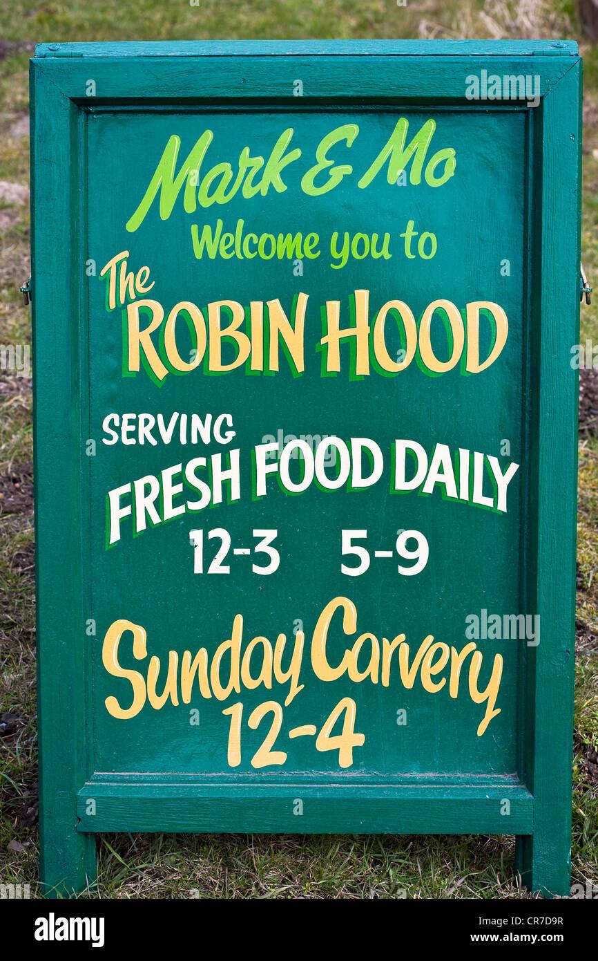 United Kingdom, East Midlands, Nottinghamshire, surroundings of Edwinstowe, restaurant The Robin Hood - Stock Image