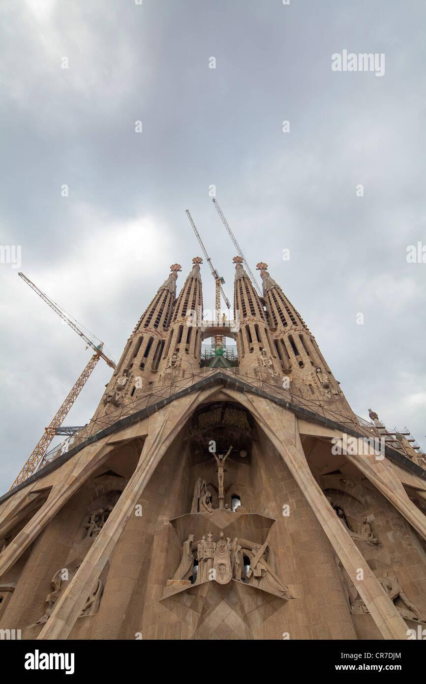 The Passion facade, Sagrada Familia church, Temple Expiatori de la Sagrada Família, Antoni Gaudi, a UNESCO - Stock Image