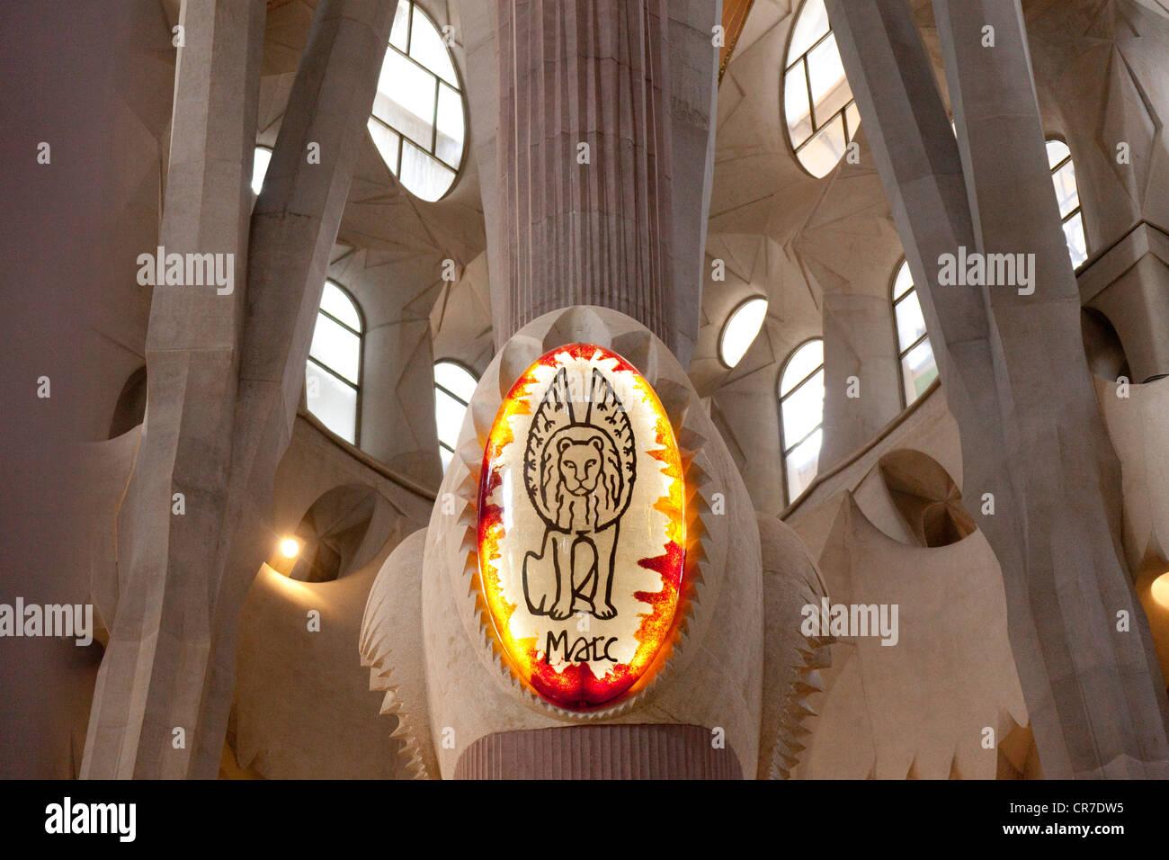 Stylised lion, interior of Sagrada Familia, Basílica i Temple Expiatori de la Sagrada Família, Basilica - Stock Image