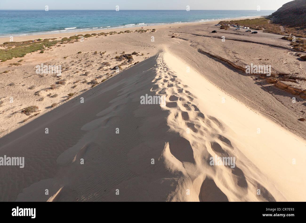 Footprints on a sand dune on the Playa de Sotavento, Leeward Beach, Fuerteventura, Canary Islands, Spain, Europe - Stock Image
