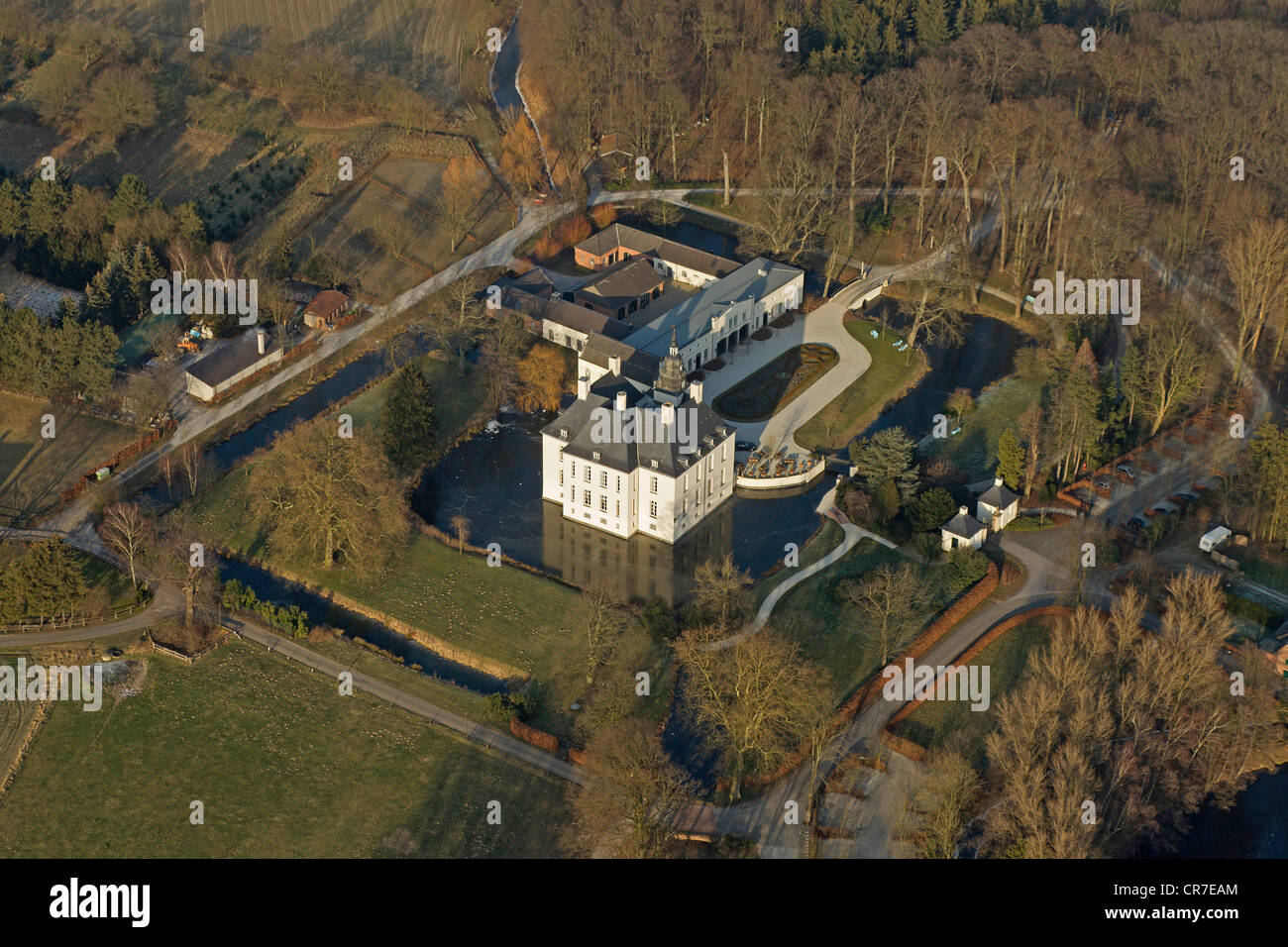 Aeral view, Schloss Gartrop moated castle with frozen moat, Huenxe, Ruhr Area, North Rhine-Westphalia, Germany, - Stock Image