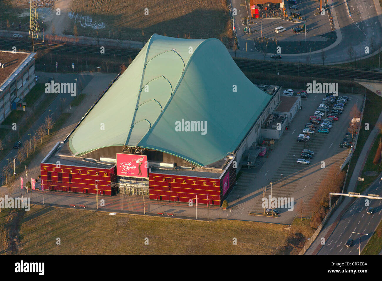Aerial view, Metronom Theater, venue of the musical 'Dirty Dancing', Neue Mitte Oberhausen, new town centre, - Stock Image