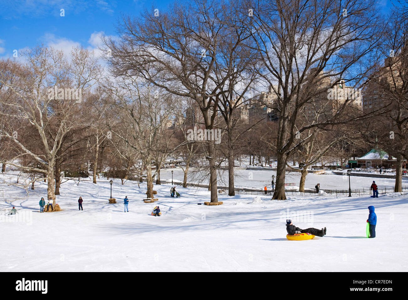 United States, New York City, Manhattan, Central Park in winter under the snow, families playing in the ice - Stock Image