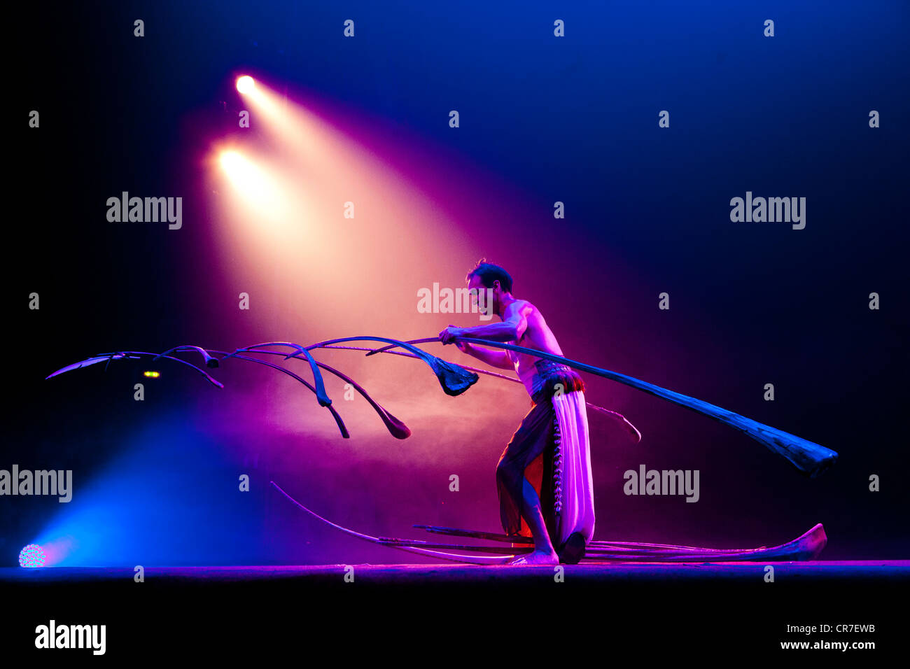 Balancing act where the Swiss performer Rigolo uses 13 palm branches to create a light suspended sculpture - Stock Image