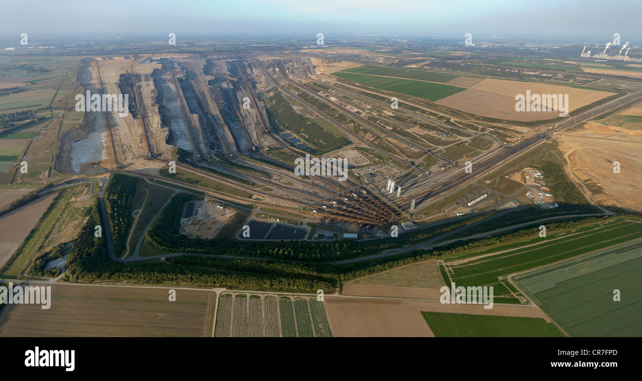 Aerial view, Titz, opencast mining of brown coal, Jackerath, North Rhine-Westphalia, Germany, Europe Stock Photo