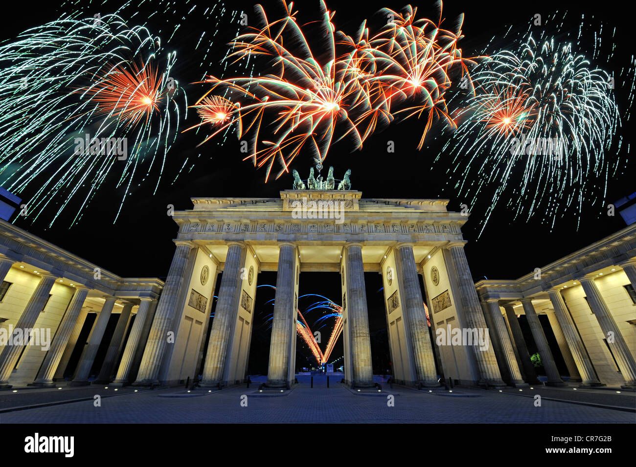 Brandenburg Gate with fireworks display, Berlin, Germany, Europe, composite Stock Photo