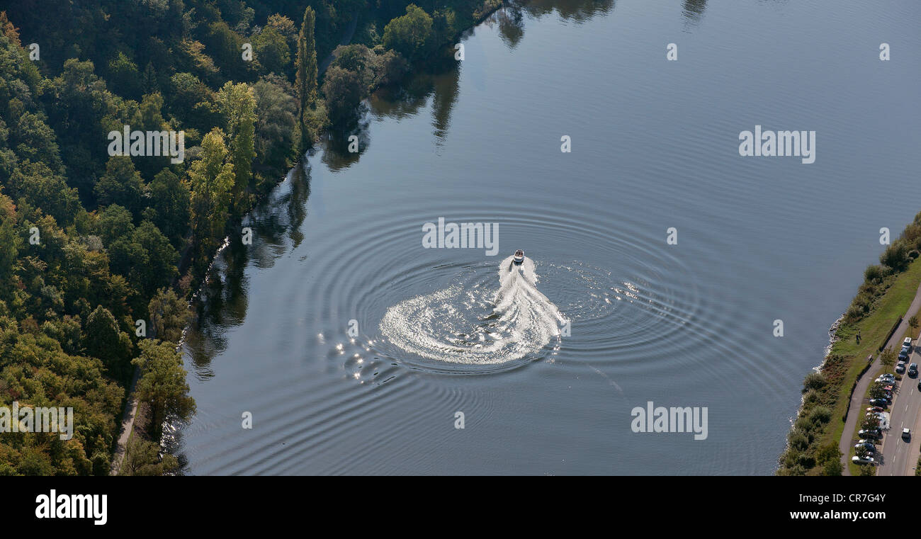 Aerial view, motor boat on the Moselle River, Klotten, Eifel mountain range, Rhineland-Palatinate, Germany, Europe Stock Photo
