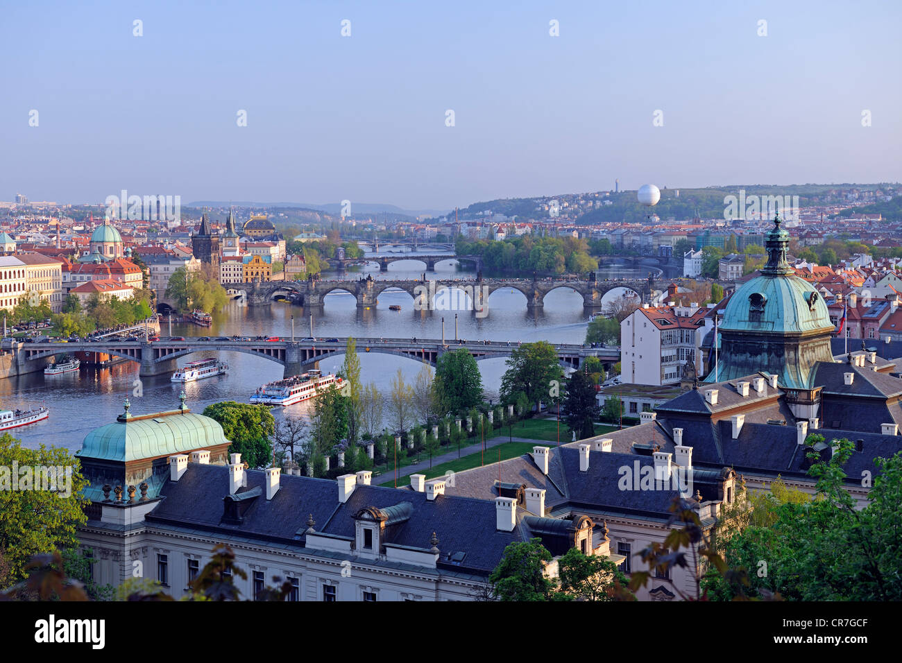 View of the Charles Bridge in the evening, Moldova, historic district of Prague, Bohemia, Czech Republic, Europe - Stock Image