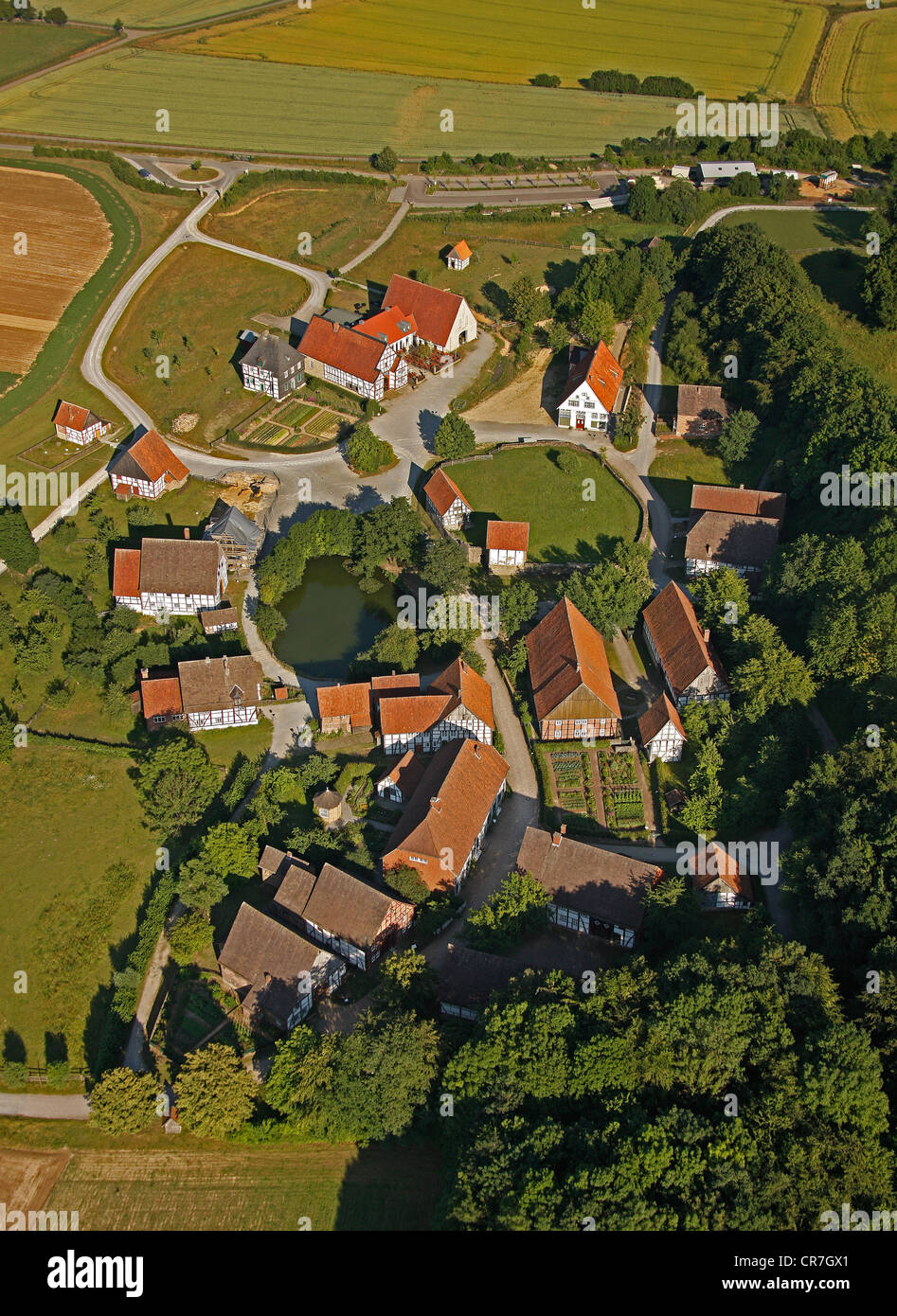 Aerial view, Paderborn village in the outdoor museum, parsonage and restaurant, Detmold Open-air Museum, Ostwestfalen-Lippe Stock Photo