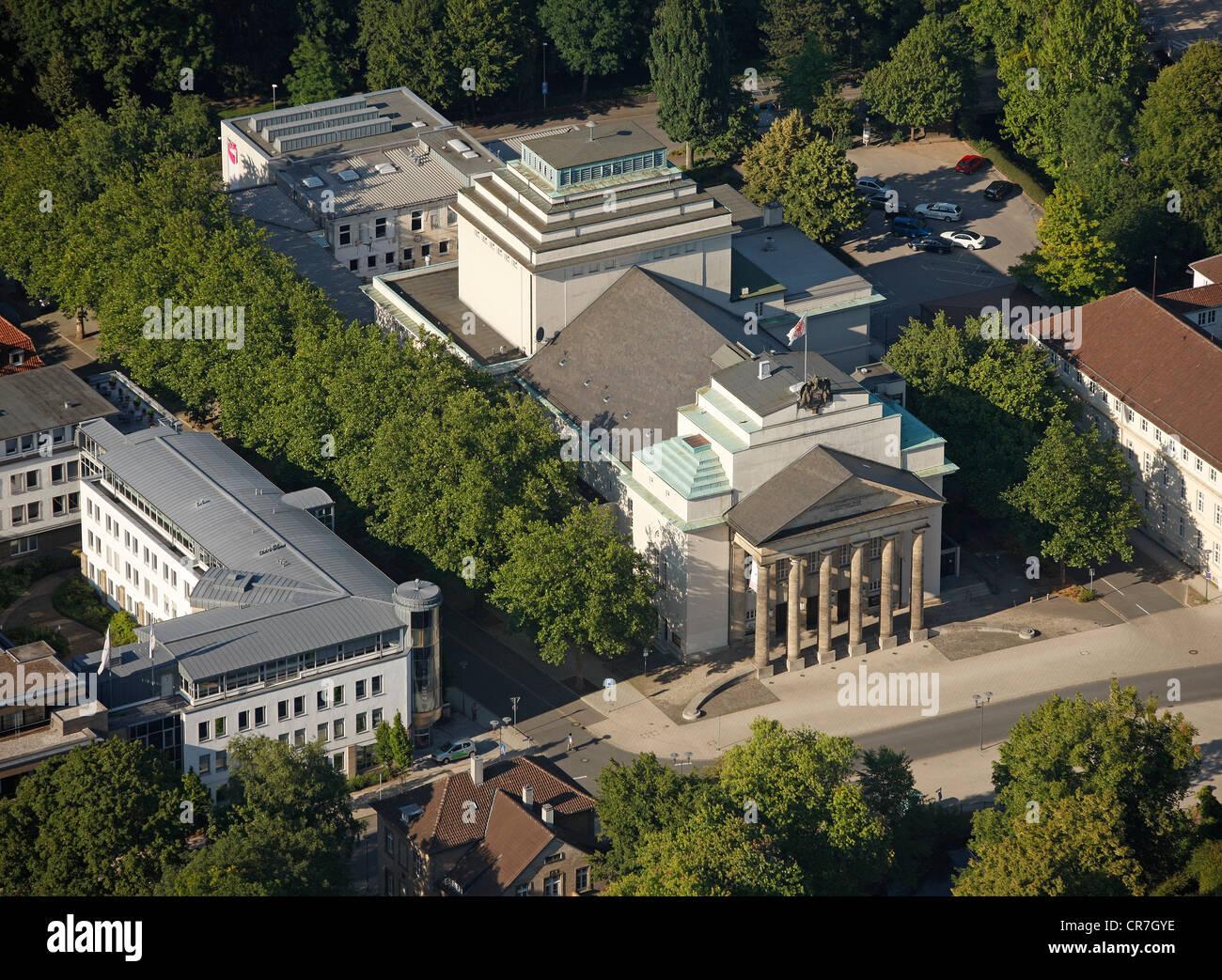 Aerial view, Landestheater Detmold building, Ostwestfalen-Lippe, eastern Westphalia, North Rhine-Westphalia, Germany, Europe Stock Photo