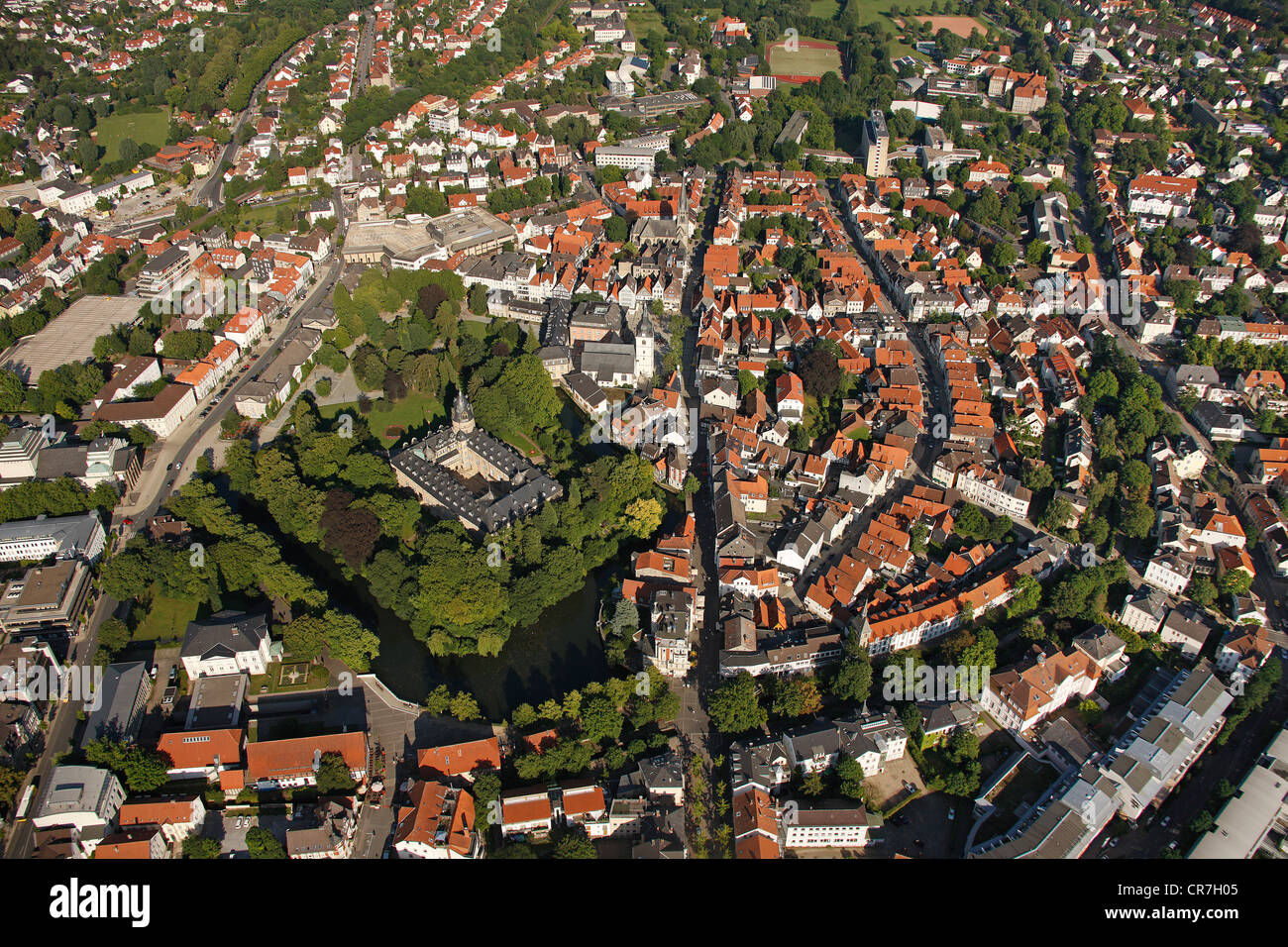 Aerial view of Detmold, Fuerstliches Residenzschloss or Princely Residence castle, Ostwestfalen-Lippe, eastern Westphalia Stock Photo