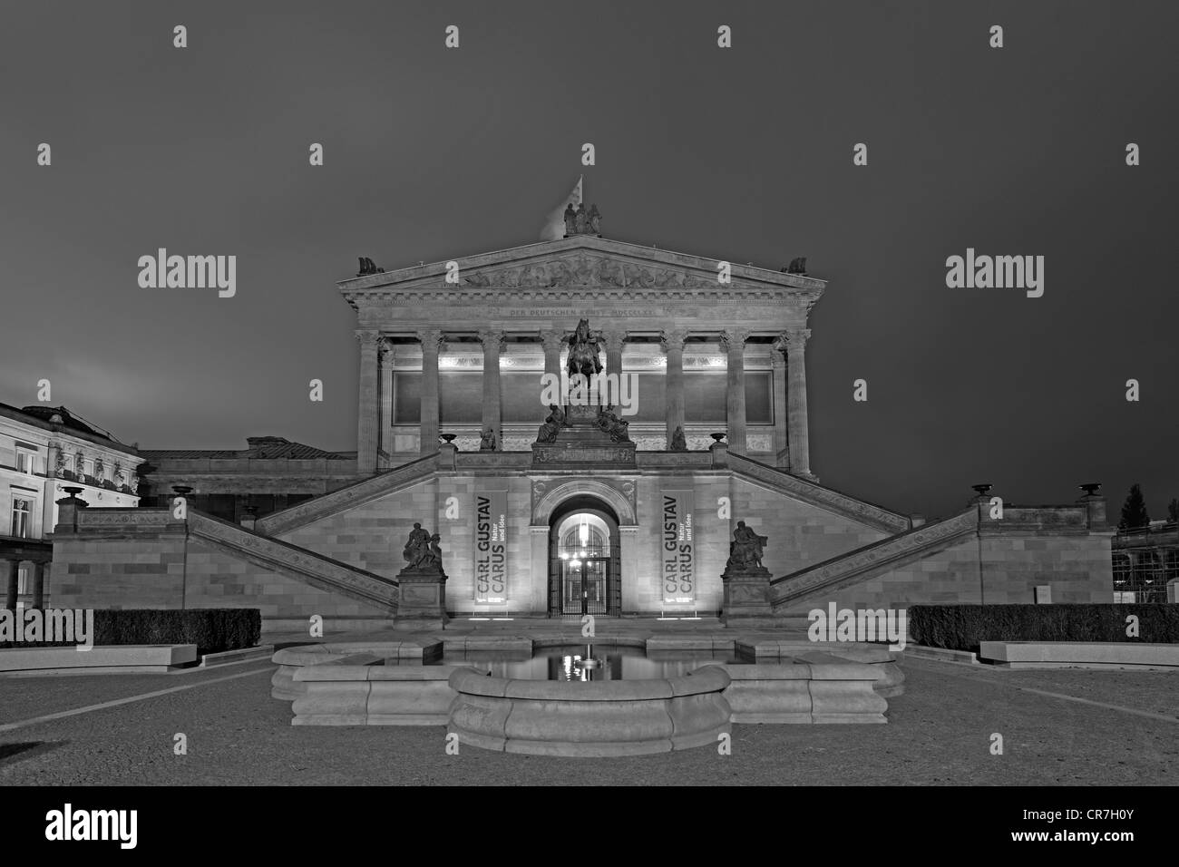 Night shot, Old National Gallery, Museum Island, UNESCO World Heritage Site, Berlin, Germany, Europe - Stock Image